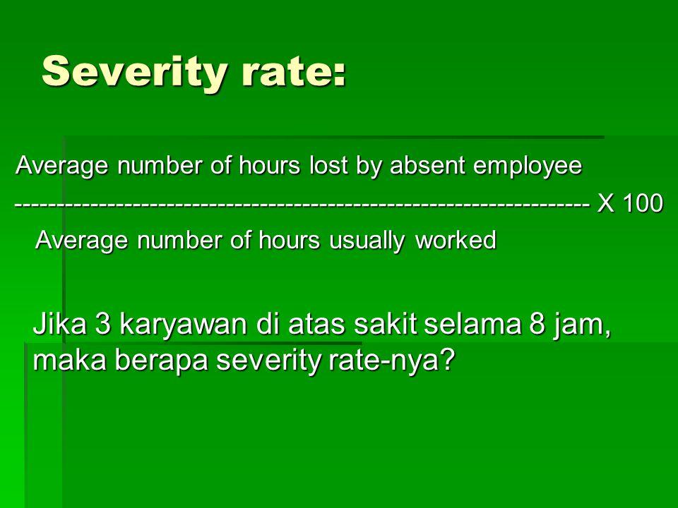 15 (3 x 8 jam) 15 (3 x 8 jam) Absence rate= ----------------------- X 100 240 x 40 jam 240 x 40 jam = 3,6% = 3,6%INTEPRETASI Menjelaskan; ada sekitar 3,6% dari jam kerja hilang karena karyawan absen/tdk masuk