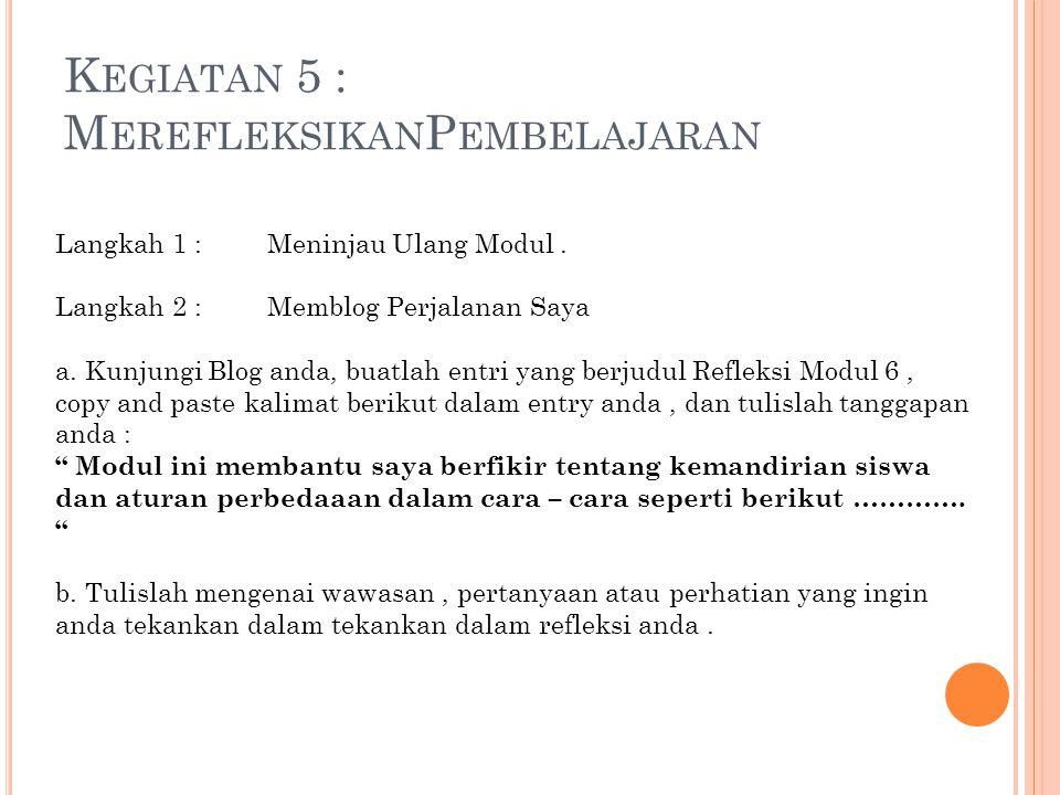 Langkah 1 : Meninjau Ulang Modul. Langkah 2 : Memblog Perjalanan Saya a. Kunjungi Blog anda, buatlah entri yang berjudul Refleksi Modul 6, copy and pa