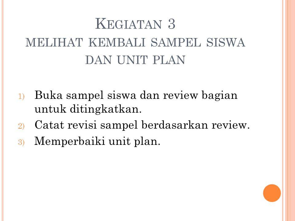 K EGIATAN 3 MELIHAT KEMBALI SAMPEL SISWA DAN UNIT PLAN 1) Buka sampel siswa dan review bagian untuk ditingkatkan.