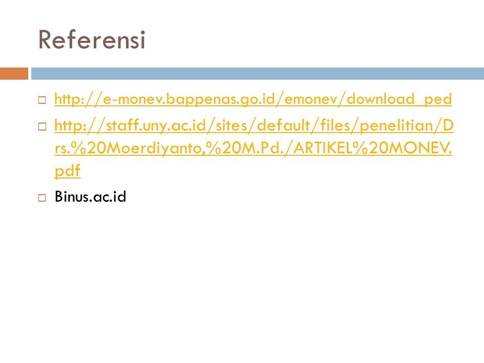 Referensi  http://e-monev.bappenas.go.id/emonev/download_ped http://e-monev.bappenas.go.id/emonev/download_ped  http://staff.uny.ac.id/sites/default/files/penelitian/D rs.%20Moerdiyanto,%20M.Pd./ARTIKEL%20MONEV.