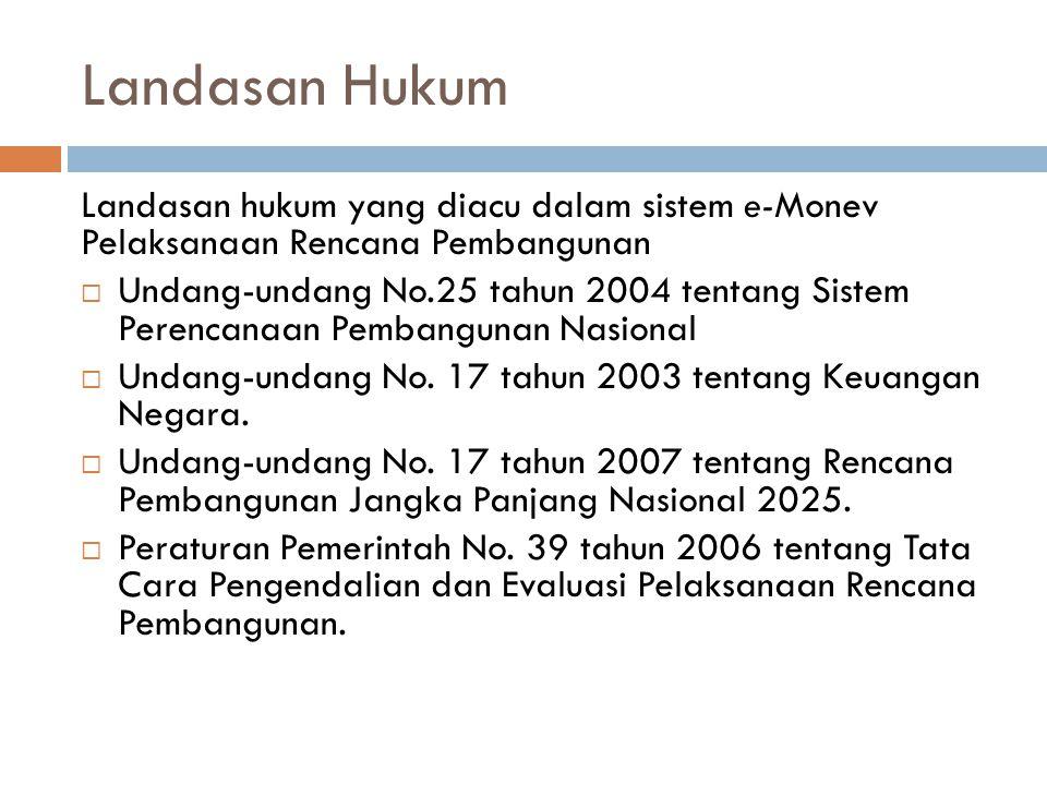 Landasan Hukum Landasan hukum yang diacu dalam sistem e-Monev Pelaksanaan Rencana Pembangunan  Undang-undang No.25 tahun 2004 tentang Sistem Perencan