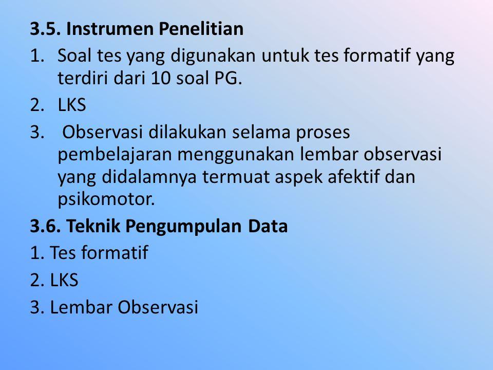 3.5. Instrumen Penelitian 1.Soal tes yang digunakan untuk tes formatif yang terdiri dari 10 soal PG. 2.LKS 3. Observasi dilakukan selama proses pembel