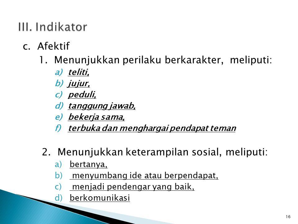 c. Afektif 1.