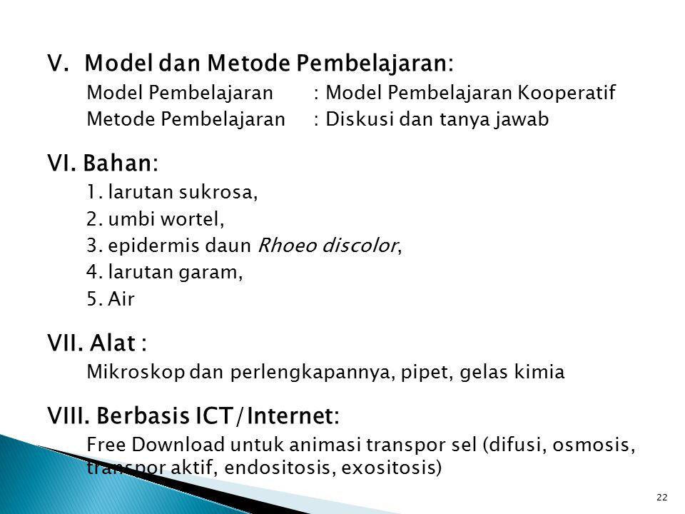 V. Model dan Metode Pembelajaran: Model Pembelajaran: Model Pembelajaran Kooperatif Metode Pembelajaran: Diskusi dan tanya jawab VI. Bahan: 1.larutan