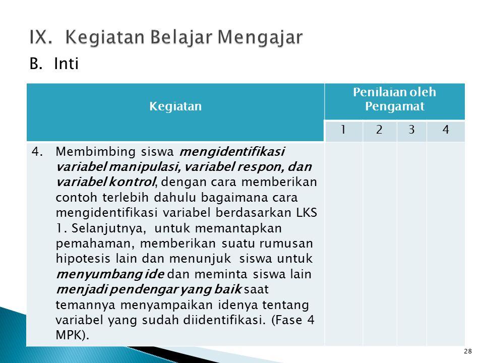 B. Inti 28 Kegiatan Penilaian oleh Pengamat 1234 4.Membimbing siswa mengidentifikasi variabel manipulasi, variabel respon, dan variabel kontrol, denga