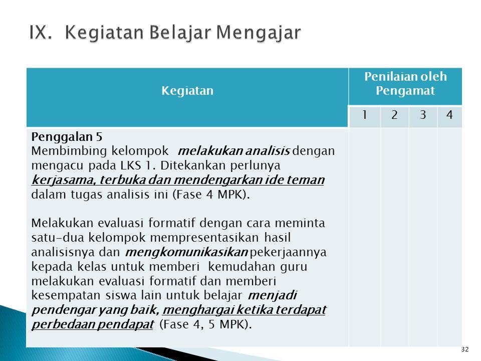 32 Kegiatan Penilaian oleh Pengamat 1234 Penggalan 5 Membimbing kelompok melakukan analisis dengan mengacu pada LKS 1.