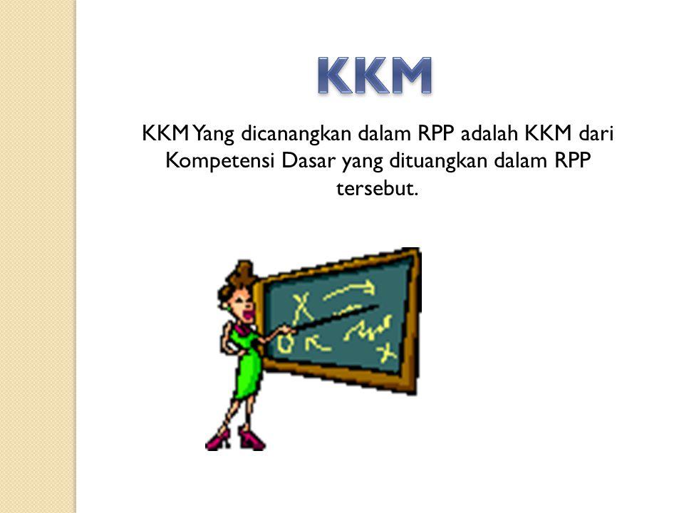 KKM Yang dicanangkan dalam RPP adalah KKM dari Kompetensi Dasar yang dituangkan dalam RPP tersebut.