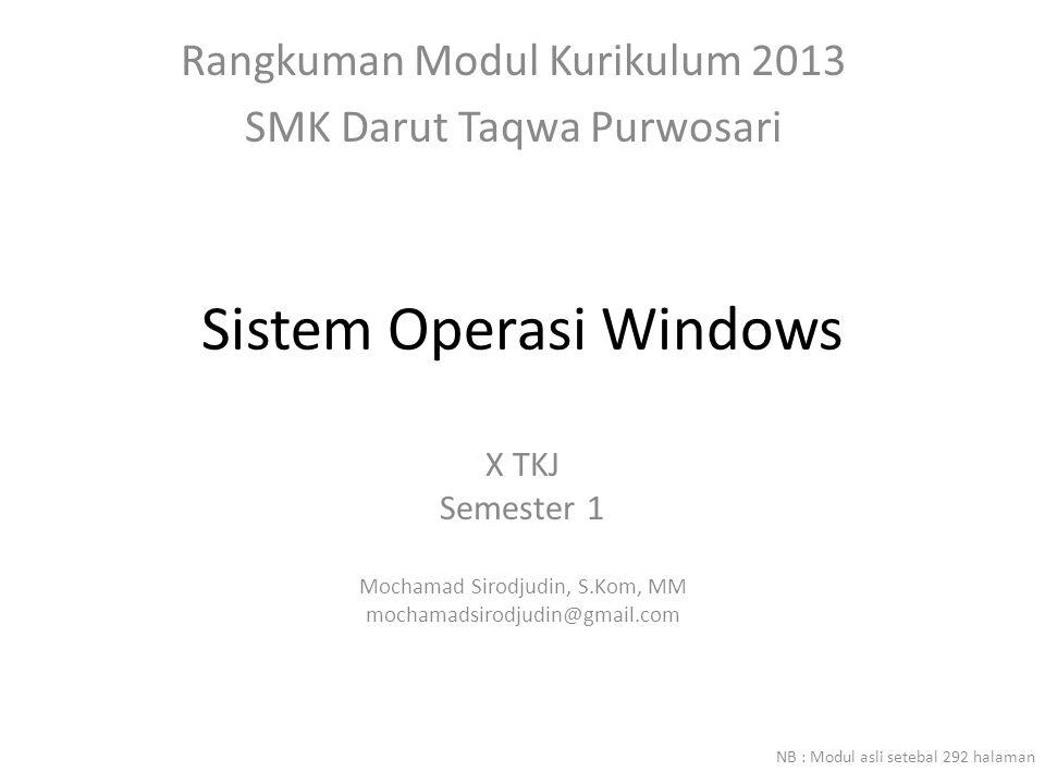 Sistem Operasi Windows X TKJ Semester 1 Mochamad Sirodjudin, S.Kom, MM mochamadsirodjudin@gmail.com Rangkuman Modul Kurikulum 2013 SMK Darut Taqwa Purwosari NB : Modul asli setebal 292 halaman