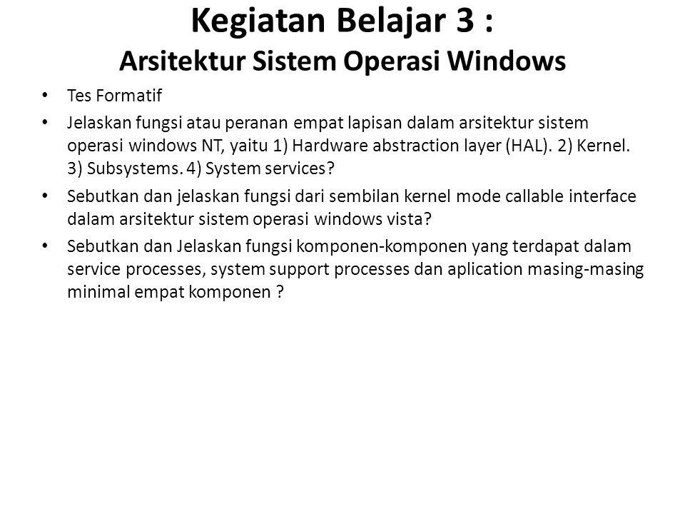 Kegiatan Belajar 3 : Arsitektur Sistem Operasi Windows Tes Formatif Jelaskan fungsi atau peranan empat lapisan dalam arsitektur sistem operasi windows NT, yaitu 1) Hardware abstraction layer (HAL).