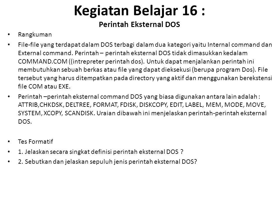 Kegiatan Belajar 16 : Perintah Eksternal DOS Rangkuman File-file yang terdapat dalam DOS terbagi dalam dua kategori yaitu Internal command dan External command.