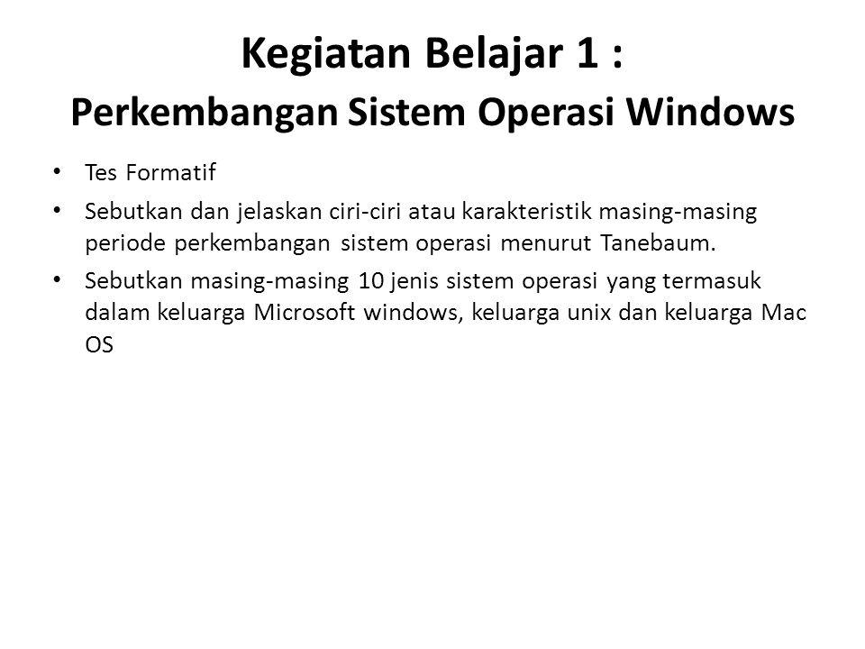 Kegiatan Belajar 1 : Perkembangan Sistem Operasi Windows Tes Formatif Sebutkan dan jelaskan ciri-ciri atau karakteristik masing-masing periode perkembangan sistem operasi menurut Tanebaum.