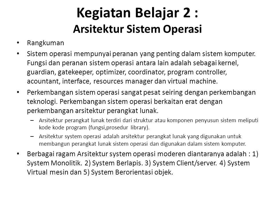 Kegiatan Belajar 2 : Arsitektur Sistem Operasi Rangkuman Sistem operasi mempunyai peranan yang penting dalam sistem komputer.