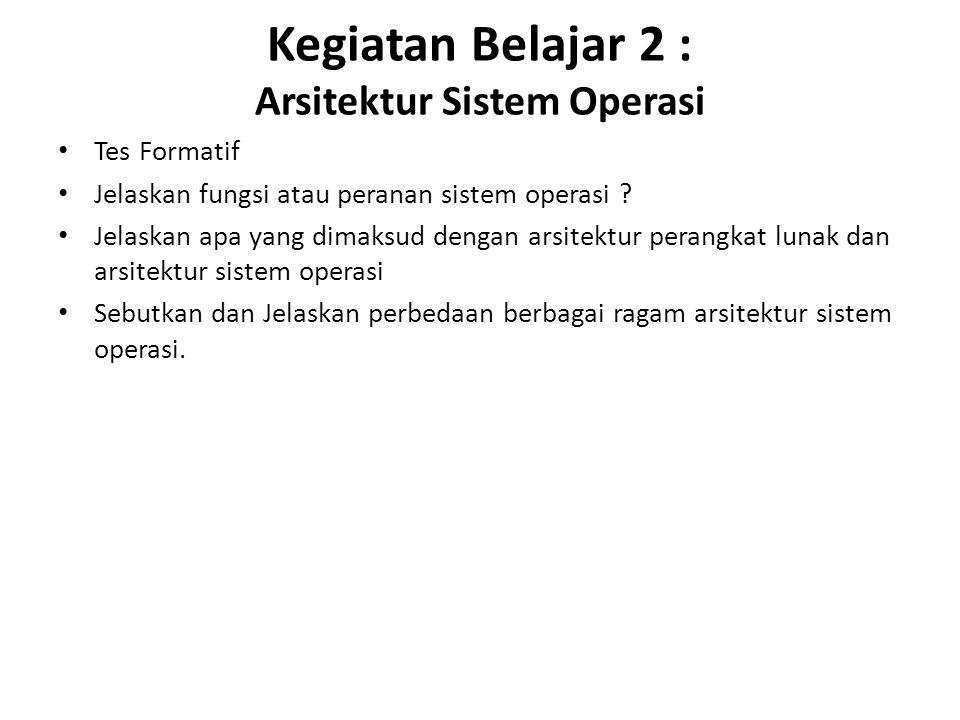 Kegiatan Belajar 2 : Arsitektur Sistem Operasi Tes Formatif Jelaskan fungsi atau peranan sistem operasi .