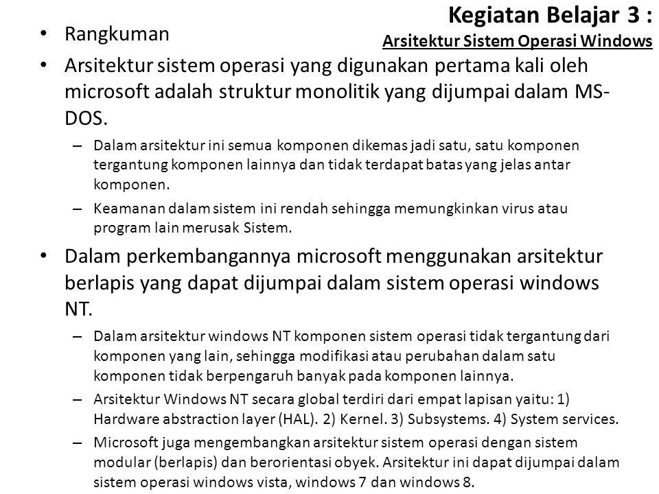Kegiatan Belajar 3 : Arsitektur Sistem Operasi Windows Rangkuman Arsitektur sistem operasi yang digunakan pertama kali oleh microsoft adalah struktur monolitik yang dijumpai dalam MS- DOS.