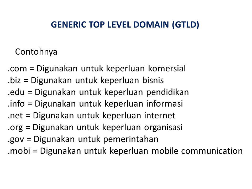 GENERIC TOP LEVEL DOMAIN (GTLD) Contohnya.com = Digunakan untuk keperluan komersial.biz = Digunakan untuk keperluan bisnis.edu = Digunakan untuk keperluan pendidikan.info = Digunakan untuk keperluan informasi.net = Digunakan untuk keperluan internet.org = Digunakan untuk keperluan organisasi.gov = Digunakan untuk pemerintahan.mobi = Digunakan untuk keperluan mobile communication