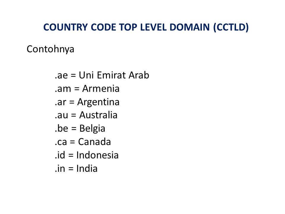 COUNTRY CODE TOP LEVEL DOMAIN (CCTLD) Contohnya.ae = Uni Emirat Arab.am = Armenia.ar = Argentina.au = Australia.be = Belgia.ca = Canada.id = Indonesia.in = India