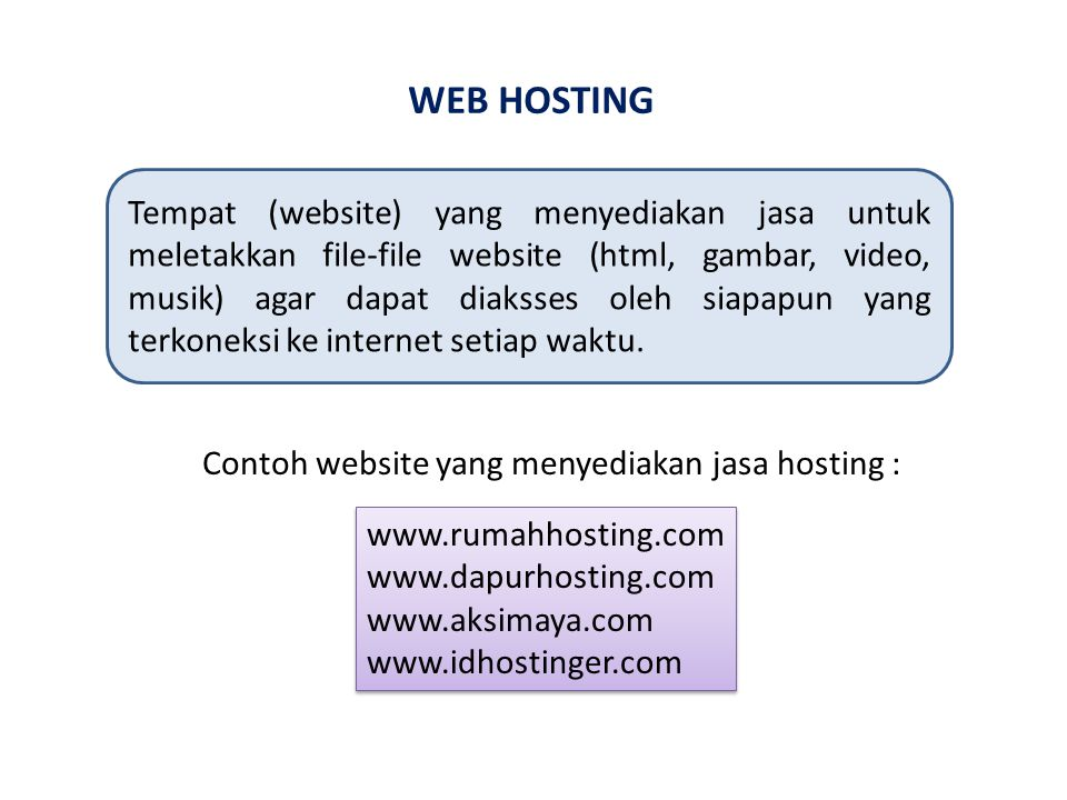 WEB HOSTING Tempat (website) yang menyediakan jasa untuk meletakkan file-file website (html, gambar, video, musik) agar dapat diaksses oleh siapapun yang terkoneksi ke internet setiap waktu.