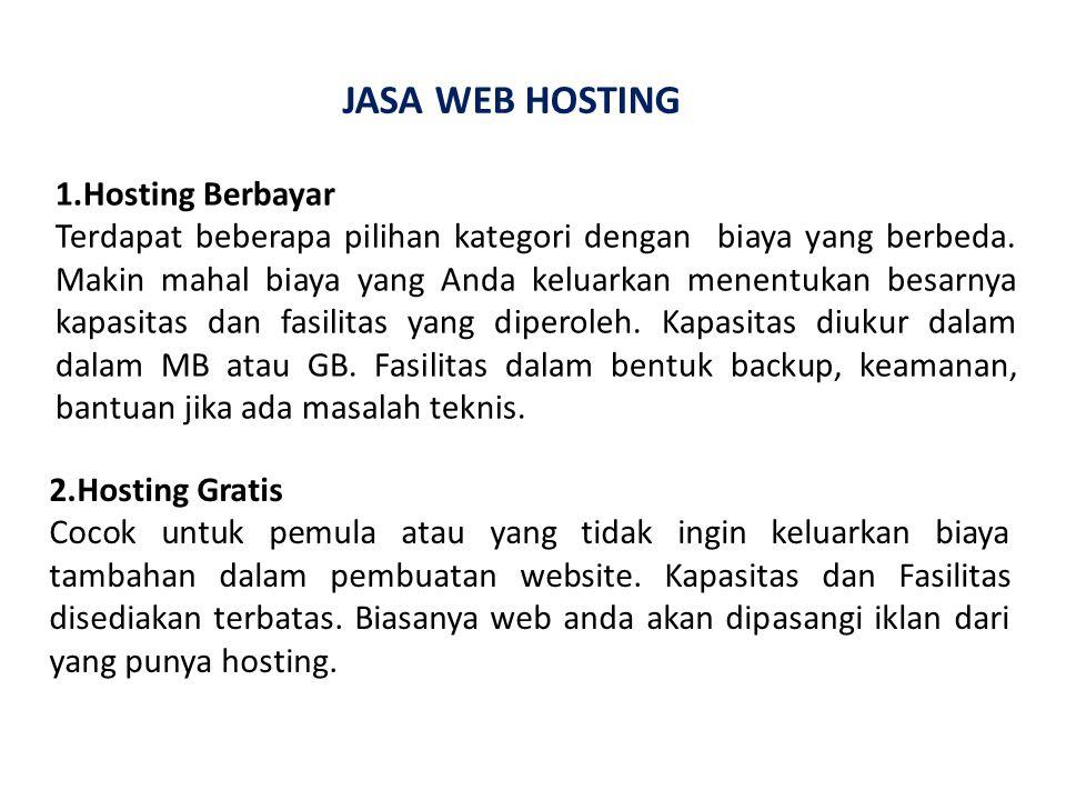 JASA WEB HOSTING 1.Hosting Berbayar Terdapat beberapa pilihan kategori dengan biaya yang berbeda.