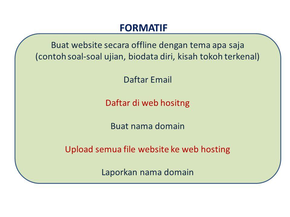 FORMATIF Buat website secara offline dengan tema apa saja (contoh soal-soal ujian, biodata diri, kisah tokoh terkenal) Daftar Email Daftar di web hositng Buat nama domain Upload semua file website ke web hosting Laporkan nama domain