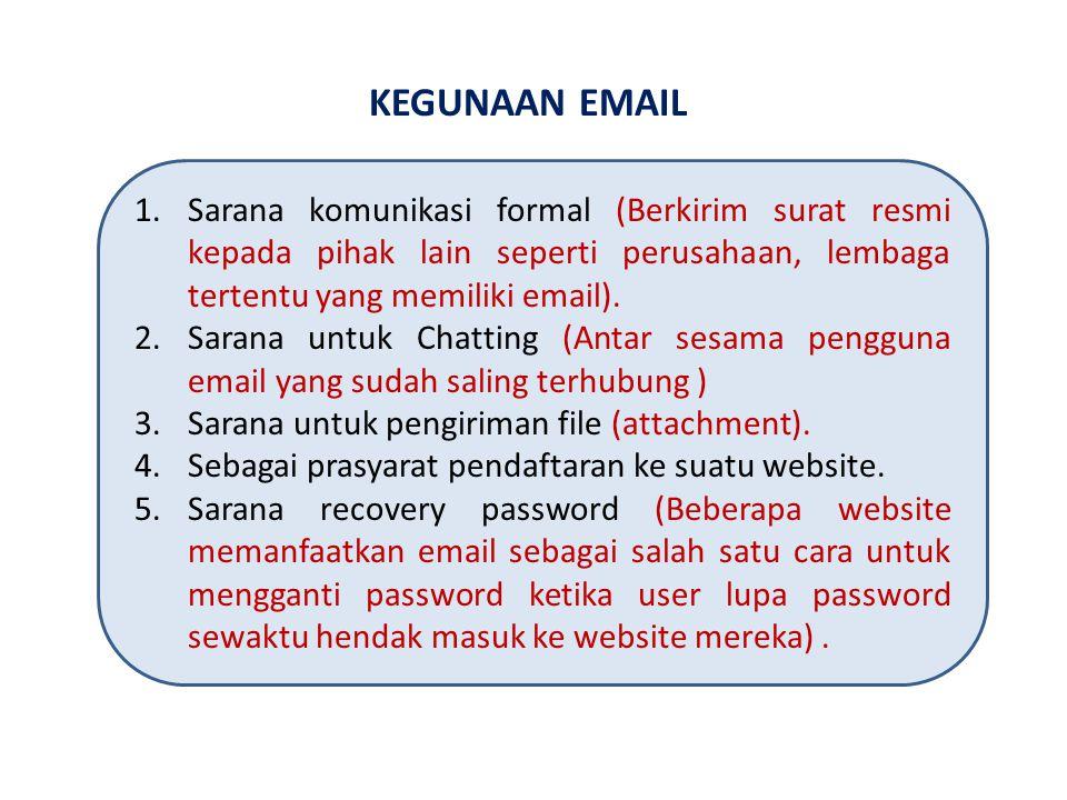 KEGUNAAN EMAIL 1.Sarana komunikasi formal (Berkirim surat resmi kepada pihak lain seperti perusahaan, lembaga tertentu yang memiliki email).