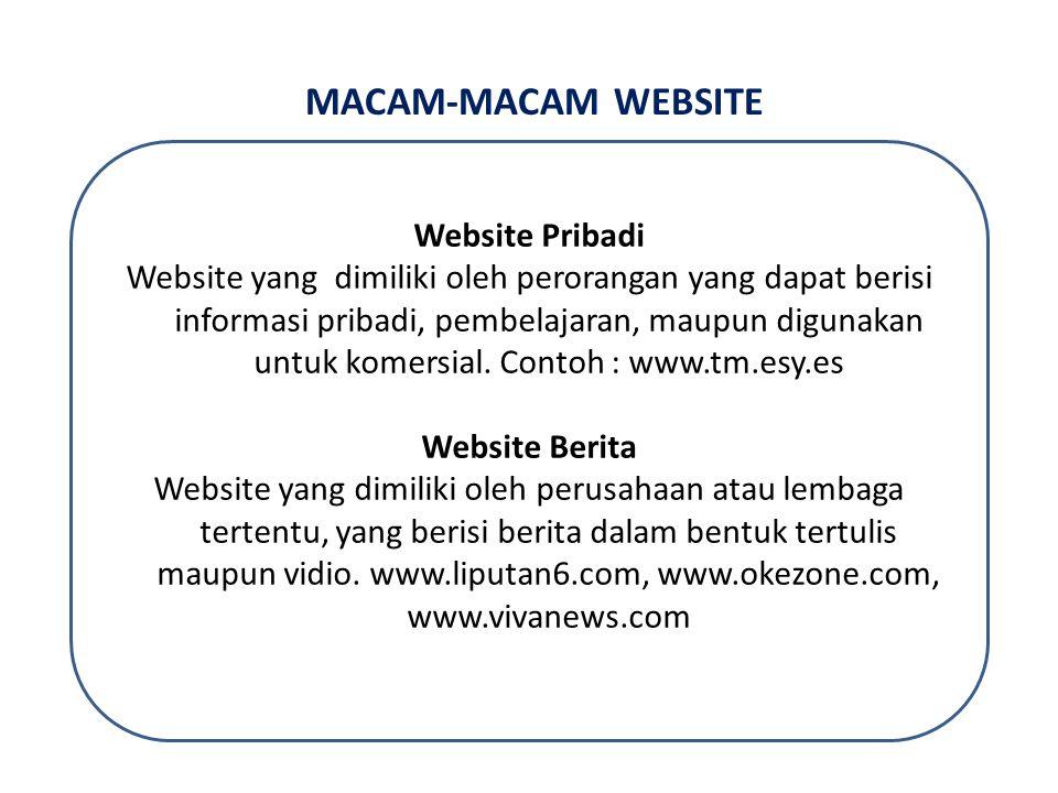 MACAM-MACAM WEBSITE Website Pribadi Website yang dimiliki oleh perorangan yang dapat berisi informasi pribadi, pembelajaran, maupun digunakan untuk komersial.