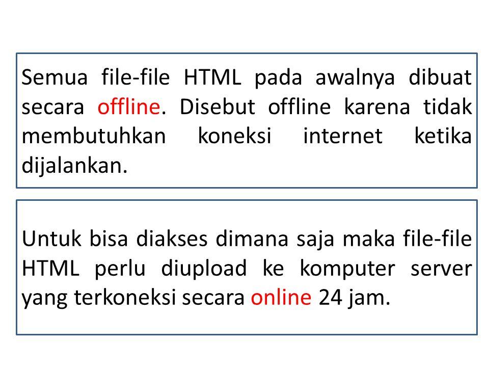 Semua file-file HTML pada awalnya dibuat secara offline.