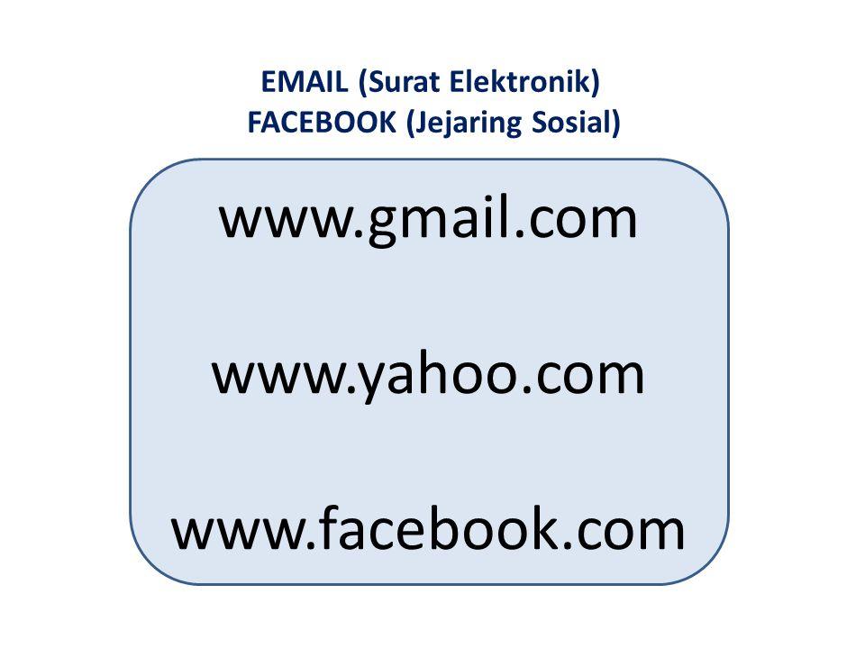 EMAIL (Surat Elektronik) FACEBOOK (Jejaring Sosial) www.gmail.com www.yahoo.com www.facebook.com