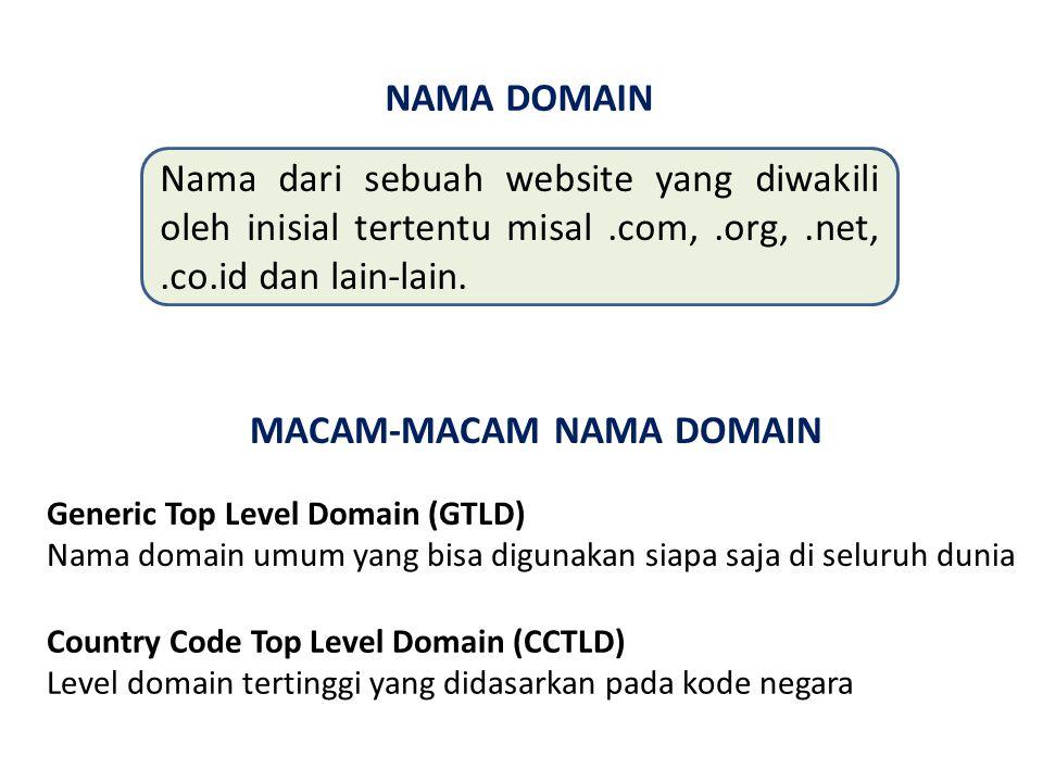 NAMA DOMAIN Nama dari sebuah website yang diwakili oleh inisial tertentu misal.com,.org,.net,.co.id dan lain-lain.