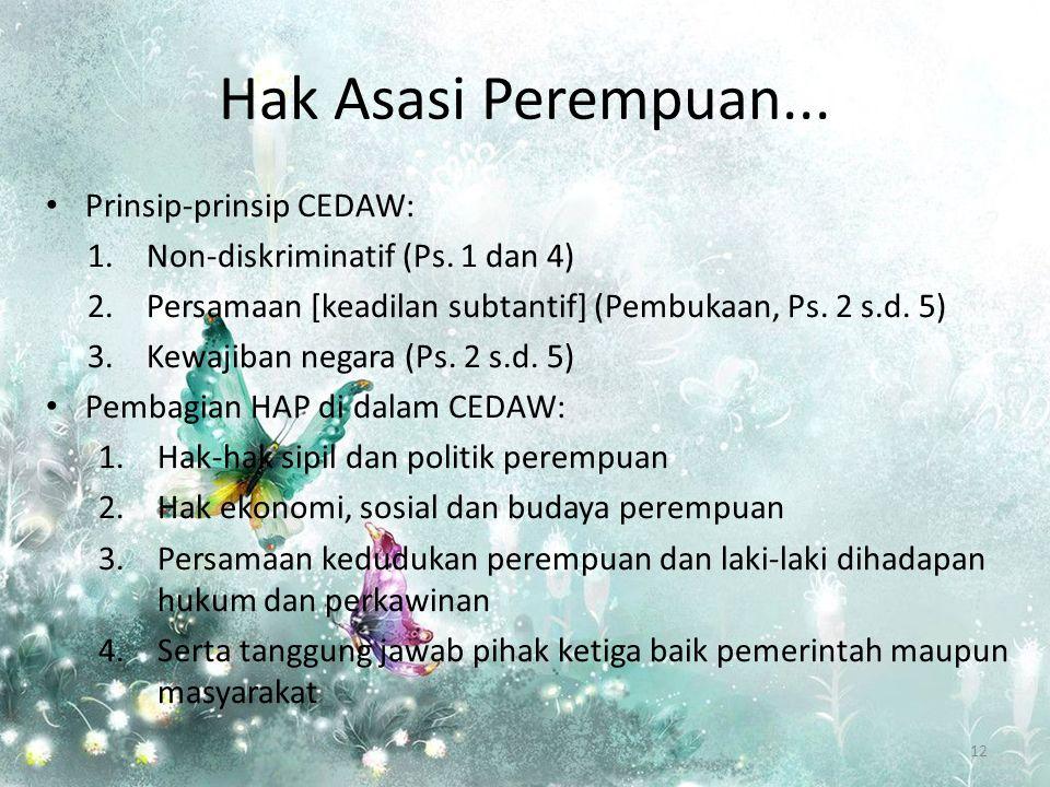 Hak Asasi Perempuan...Prinsip-prinsip CEDAW: 1.Non-diskriminatif (Ps.