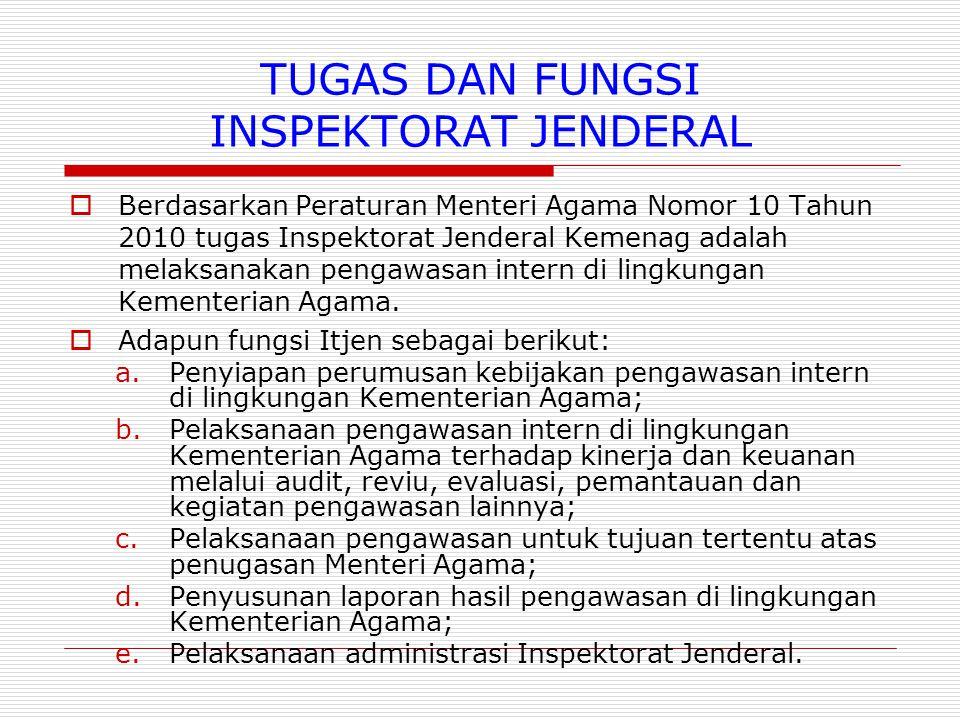 TUGAS DAN FUNGSI INSPEKTORAT JENDERAL  Berdasarkan Peraturan Menteri Agama Nomor 10 Tahun 2010 tugas Inspektorat Jenderal Kemenag adalah melaksanakan pengawasan intern di lingkungan Kementerian Agama.