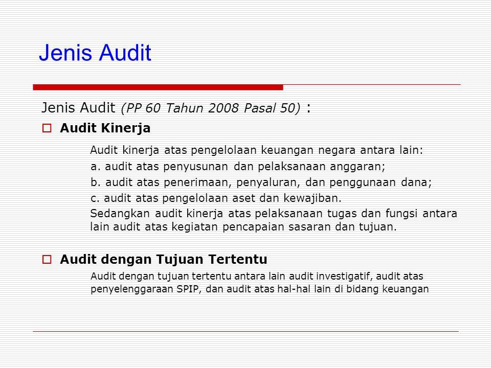 Jenis Audit Jenis Audit (PP 60 Tahun 2008 Pasal 50) :  Audit Kinerja Audit kinerja atas pengelolaan keuangan negara antara lain: a.