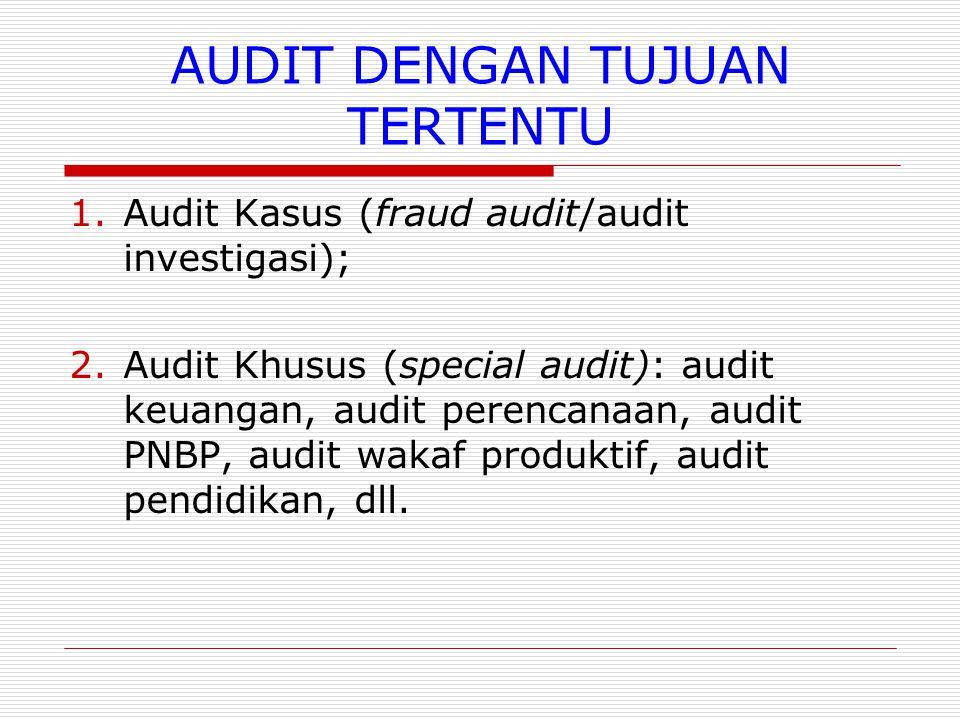 AUDIT DENGAN TUJUAN TERTENTU 1.Audit Kasus (fraud audit/audit investigasi); 2.Audit Khusus (special audit): audit keuangan, audit perencanaan, audit PNBP, audit wakaf produktif, audit pendidikan, dll.