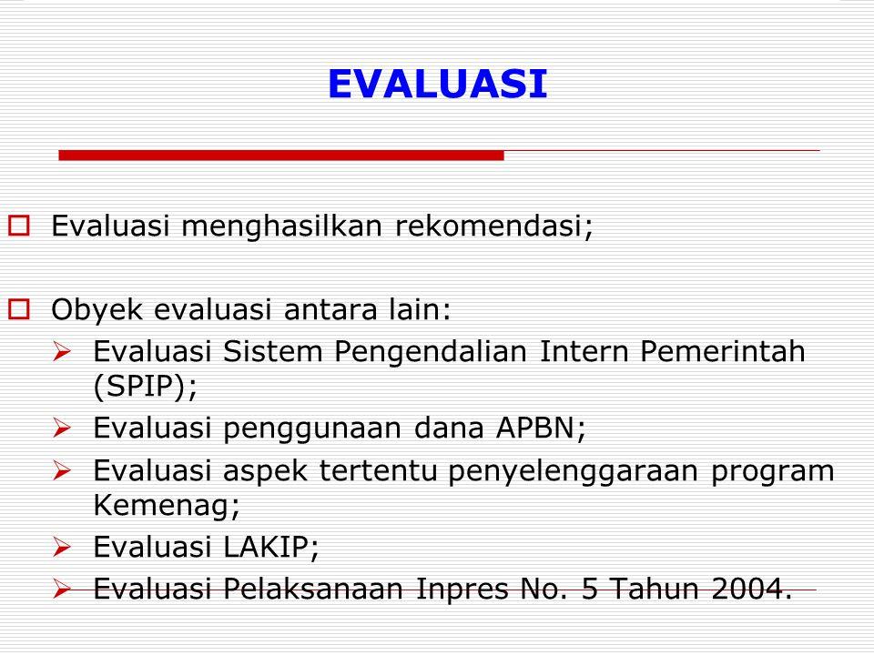 EVALUASI  Evaluasi menghasilkan rekomendasi;  Obyek evaluasi antara lain:  Evaluasi Sistem Pengendalian Intern Pemerintah (SPIP);  Evaluasi penggunaan dana APBN;  Evaluasi aspek tertentu penyelenggaraan program Kemenag;  Evaluasi LAKIP;  Evaluasi Pelaksanaan Inpres No.