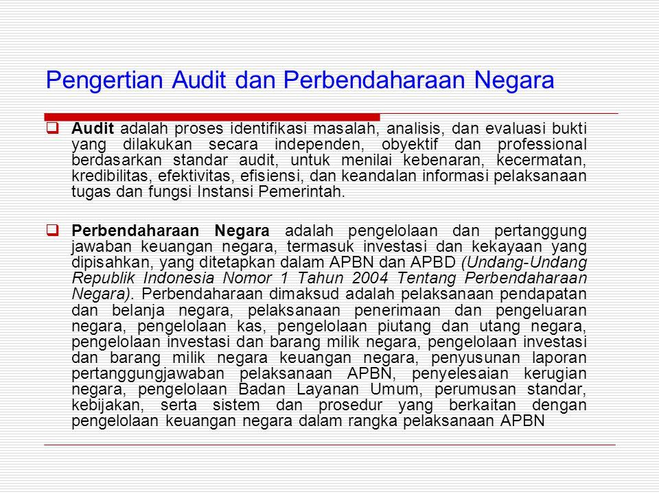Pengertian Audit dan Perbendaharaan Negara  Audit adalah proses identifikasi masalah, analisis, dan evaluasi bukti yang dilakukan secara independen, obyektif dan professional berdasarkan standar audit, untuk menilai kebenaran, kecermatan, kredibilitas, efektivitas, efisiensi, dan keandalan informasi pelaksanaan tugas dan fungsi Instansi Pemerintah.