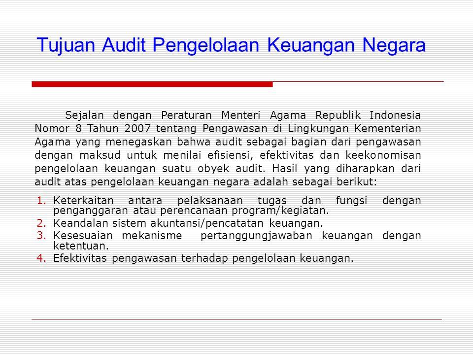 Tujuan Audit Pengelolaan Keuangan Negara 1.Keterkaitan antara pelaksanaan tugas dan fungsi dengan penganggaran atau perencanaan program/kegiatan.