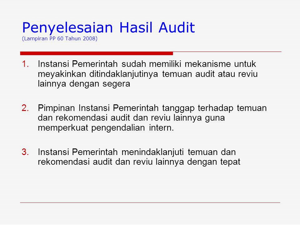 Penyelesaian Hasil Audit (Lampiran PP 60 Tahun 2008)  Instansi Pemerintah sudah memiliki mekanisme untuk meyakinkan ditindaklanjutinya temuan audit atau reviu lainnya dengan segera  Pimpinan Instansi Pemerintah tanggap terhadap temuan dan rekomendasi audit dan reviu lainnya guna memperkuat pengendalian intern.