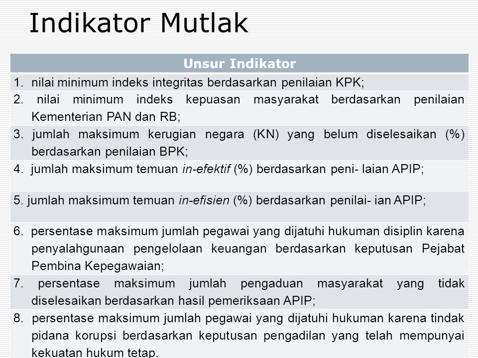 Indikator Mutlak Unsur Indikator 1.nilai minimum indeks integritas berdasarkan penilaian KPK; 2.