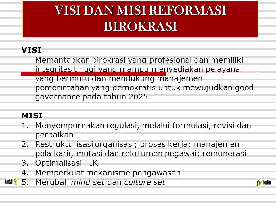 VISI DAN MISI REFORMASI BIROKRASI VISI Memantapkan birokrasi yang profesional dan memiliki integritas tinggi yang mampu menyediakan pelayanan yang bermutu dan mendukung manajemen pemerintahan yang demokratis untuk mewujudkan good governance pada tahun 2025 MISI 1.Menyempurnakan regulasi, melalui formulasi, revisi dan perbaikan 2.Restrukturisasi organisasi; proses kerja; manajemen pola karir, mutasi dan rekrtumen pegawai; remunerasi 3.Optimalisasi TIK 4.Memperkuat mekanisme pengawasan 5.Merubah mind set dan culture set