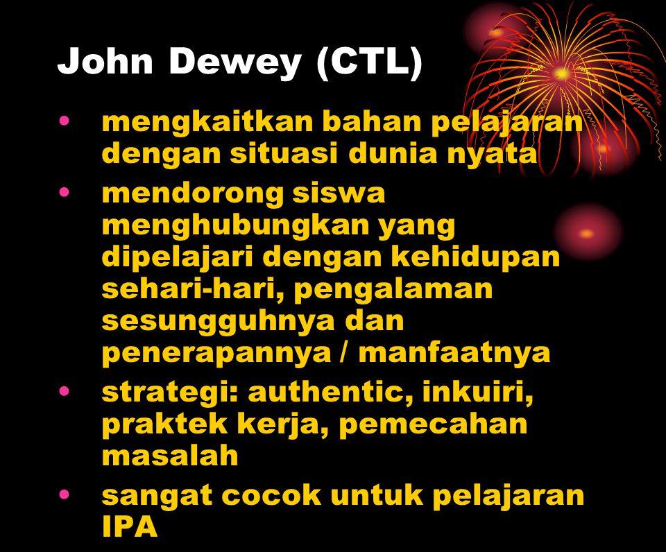 John Dewey (CTL) mengkaitkan bahan pelajaran dengan situasi dunia nyata mendorong siswa menghubungkan yang dipelajari dengan kehidupan sehari-hari, pe