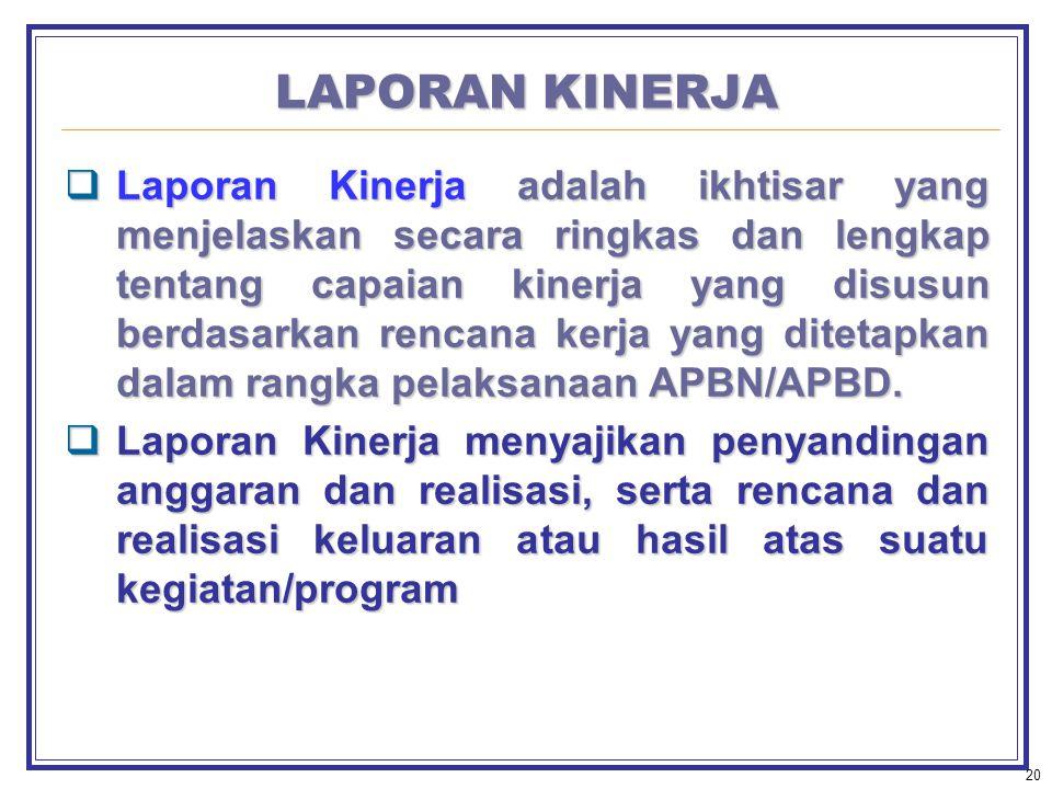 20 LAPORAN KINERJA  Laporan Kinerja adalah ikhtisar yang menjelaskan secara ringkas dan lengkap tentang capaian kinerja yang disusun berdasarkan rencana kerja yang ditetapkan dalam rangka pelaksanaan APBN/APBD.