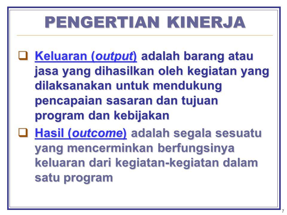 7 PENGERTIAN KINERJA  Keluaran (output) adalah barang atau jasa yang dihasilkan oleh kegiatan yang dilaksanakan untuk mendukung pencapaian sasaran dan tujuan program dan kebijakan  Hasil (outcome) adalah segala sesuatu yang mencerminkan berfungsinya keluaran dari kegiatan-kegiatan dalam satu program