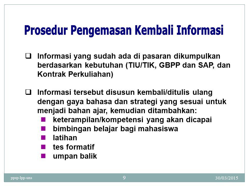 30/03/2015 ppsp-lpp-uns 9  Informasi yang sudah ada di pasaran dikumpulkan berdasarkan kebutuhan (TIU/TIK, GBPP dan SAP, dan Kontrak Perkuliahan)  I