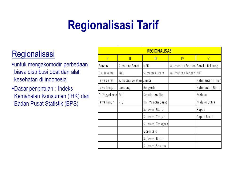 Regionalisasi Tarif Regionalisasi untuk mengakomodir perbedaan biaya distribusi obat dan alat kesehatan di indonesia Dasar penentuan : Indeks Kemahala