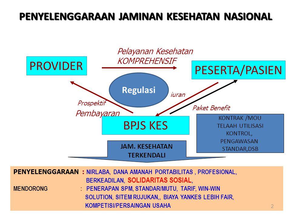 www.jpkm-online.net PENYELENGGARAAN JAMINAN KESEHATAN NASIONAL PROVIDER PESERTA/PASIEN BPJS KES Pelayanan Kesehatan KOMPREHENSIF Prospektif Pembayaran