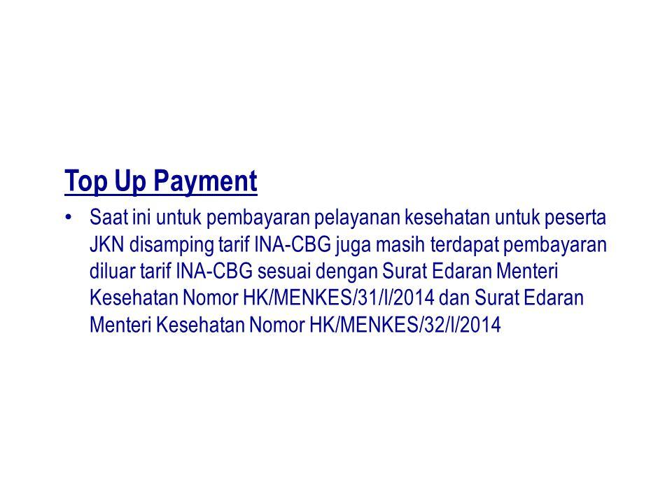 Top Up Payment Saat ini untuk pembayaran pelayanan kesehatan untuk peserta JKN disamping tarif INA-CBG juga masih terdapat pembayaran diluar tarif INA