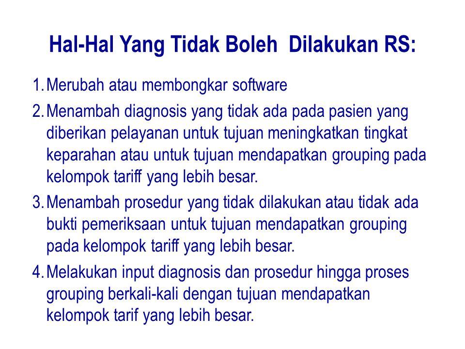Hal-Hal Yang Tidak Boleh Dilakukan RS: 1.Merubah atau membongkar software 2.Menambah diagnosis yang tidak ada pada pasien yang diberikan pelayanan unt