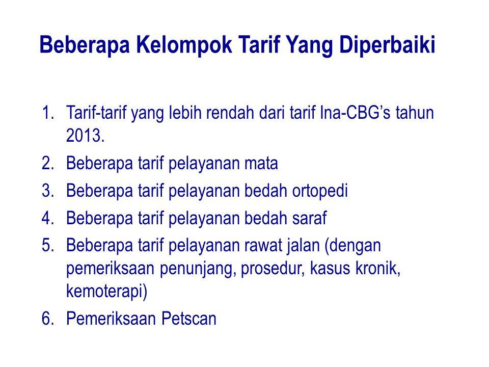 Beberapa Kelompok Tarif Yang Diperbaiki 1.Tarif-tarif yang lebih rendah dari tarif Ina-CBG's tahun 2013. 2.Beberapa tarif pelayanan mata 3.Beberapa ta