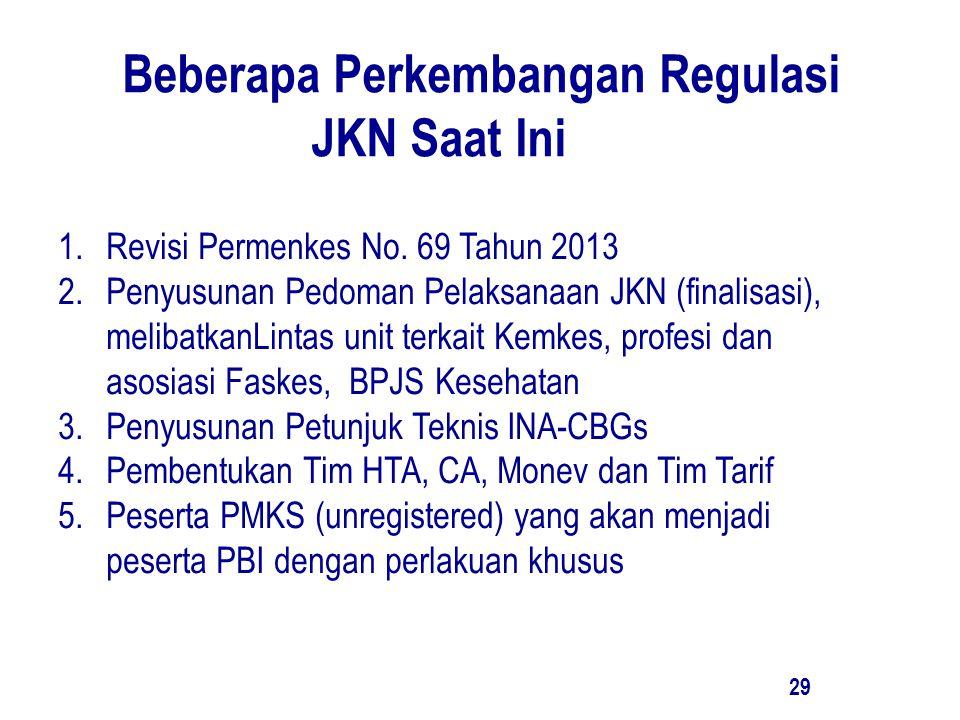 Beberapa Perkembangan Regulasi JKN Saat Ini 29 1.Revisi Permenkes No. 69 Tahun 2013 2.Penyusunan Pedoman Pelaksanaan JKN (finalisasi), melibatkanLinta