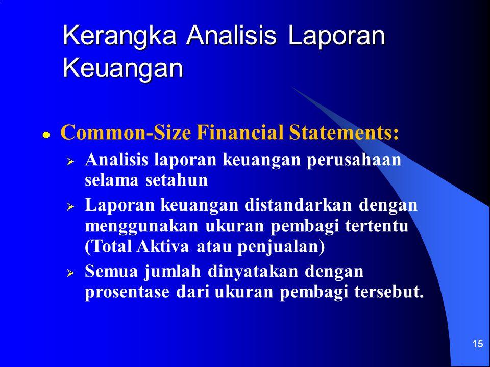 15 l Common-Size Financial Statements:  Analisis laporan keuangan perusahaan selama setahun  Laporan keuangan distandarkan dengan menggunakan ukuran