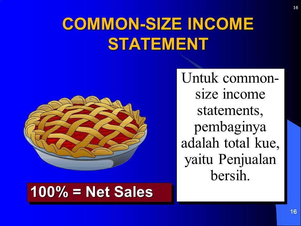 16 COMMON-SIZE INCOME STATEMENT Untuk common- size income statements, pembaginya adalah total kue, yaitu Penjualan bersih. 100% = Net Sales